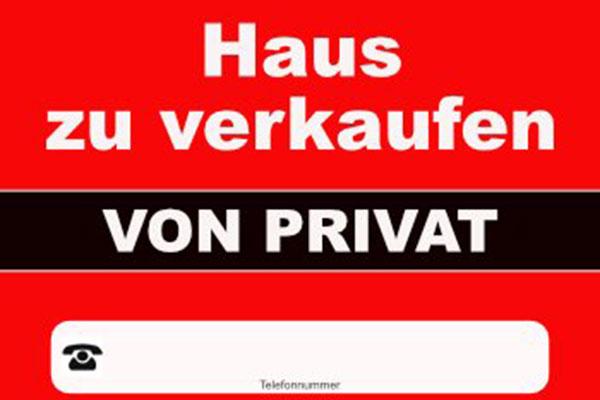 Verkaufsschild von privat