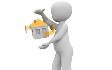 Männchen jongliert mit Haus