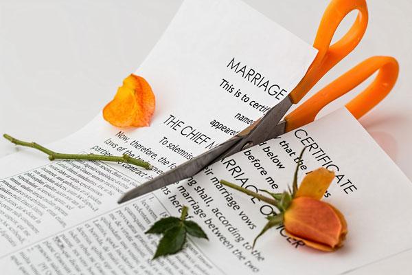 Schere zerschneidet Rose und Heiratsurkunde